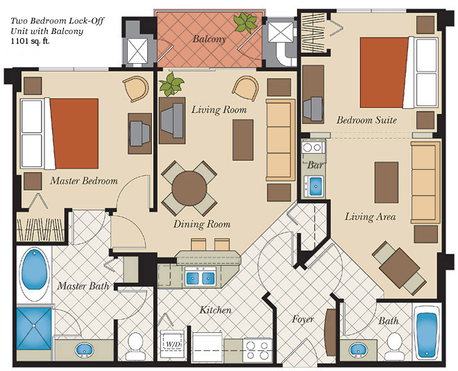 Units on Two Bedroom Pool Villa Floor Plans